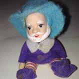 Коллекционная кукла фарфоровая гном гномик старичок фарфор игрушка кукле