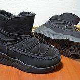 Зимние ботинки спортивного стиля эко-замша