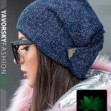 Вязанная шапка с люрексом синяя