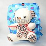 Детский рюкзак для девочек с мягкой игрушкой мишка голубой 3681