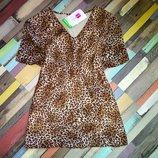 Шикарная леопардовая летняя блуза с коротким рукавом
