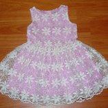 Нарядное розовое с белыми цветами платье,сарафан Некст, 9-12 мес.,1 год,80 Состояние нового
