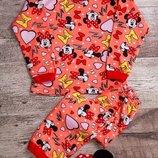Тёпленькая пижамка хлопок с начёсом 30-34р. для девочек