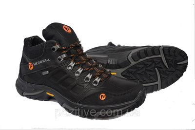 Зимние мужские кожаные ботинкиMerrell Gore -Tex Black