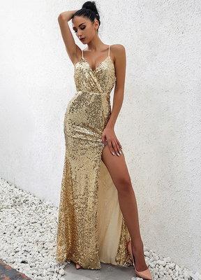 6d074398e691be5 Элегантное золотое платье с разрезом Новинка: 735 грн - женские ...