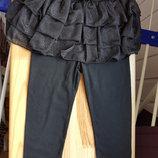 Распродажа Комплект Черная блестящая юбка и лосины из хлопка на 2-3 года