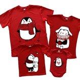Комплект семейных футболок Пингвины нарисованные новогодний Family look для фото сессий