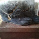 Ботинки зимние натуральный замш и мех всередине