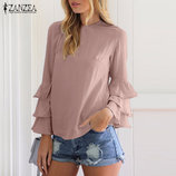 Цену снизила Обалденная блузка с расклешенными рукавами нюдового цвета пыльной розы
