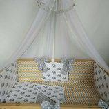 набор в кроватку, двухсторонний, в кроватку с бортиками подушечками 7ед. -Сладкий сон, Польша