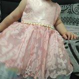 Платье нарядное персиково-розовое 70, 80, 90