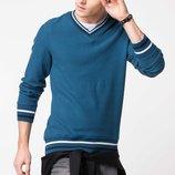 насыщенно-изумрудный мужской свитер De Facto с V-образной горловиной