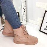 Женские зимние розовые ботинки