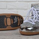 Дутики луноходы Moon Boots Silver женские серебристые металлик с блестками