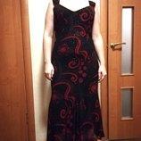 Нарядное платье шифоновое на подкладке платье в красных камешках 12-14- 16 размера