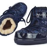Ботинки дутики термо Moon Boots Jewelry женские зимние синие с блестками