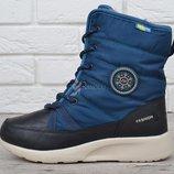 Ботинки женские на шнуровке термо Winter flight синие