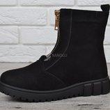 Высокие ботинки замша и овчина Украина женские зимние черные