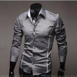 Мужская рубашка длинный рукав приталенная M, L, XL, XXL серая с декорированными швами