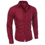 Стильная мужская приталенная рубашка в британксом стиле длинный рукав M- 5XL красная