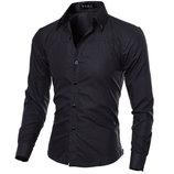 Стильная мужская приталенная рубашка в британском стиле длинный рукав M- 5XL черная