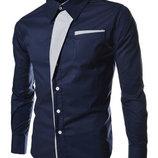 Оригинальная мужская рубашка приталенная M, L, XL, XXL темно-синяя