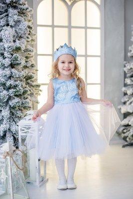 Праздничное нарядное детское платье на новый год и утренник Снежинка