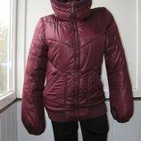 Куртка с высоким воротником, евро зима, деми, р.S/M, гнилая вишня