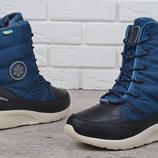 Ботинки женские дутики на шнуровке термо Winter flight синие