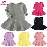 Детское платье с длинным рукавом, 3 цвета, 9 мес-4 года, новое