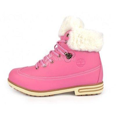 Ботинки кожа на меху Timberland Pink женские зимние розовые