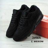 Зимние мужские кроссовки Nike Air Max 90VT FUR Black натуральная замша с мехом