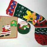 Набор.шкатулка мешочек чулок для подарков сапог Декор новогодний носок новый год аксессуар дед мороз