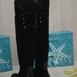 Женские кожаные сапоги Евро-Мех резинка на голени