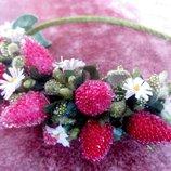 Ободок венок с малинкой вишнями листьями