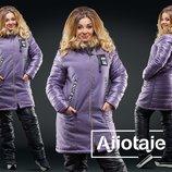 Комбинированная удлинённая курточка. Размеры 48, 50, 52, 54.