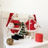 Подарок на новый год Дед Мороз Снегурочка Елка тильда зайка Рождество