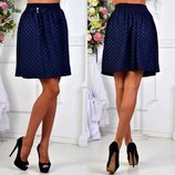 Женская стильная короткая юбка 107 Трикотаж Кармашки Бант в расцветках.