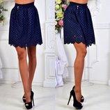Элегантная женская короткая юбка 105 Трикотаж Перфо Бант Мини в расцветках.