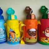 Термос детский в чехле для школы, для садика. Поилка с трубочкой 500ml
