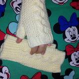 Детские вязаные митенки, варежки перчатки без пальчиков для девочки на весну осень, ручная робота