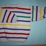 Полосатенький мягенький вязаный свитерок до 6лет