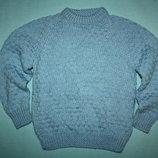Голубой очаровательный полушерстяной вязаный свитер до 5лет