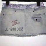Джинсовая стрейчевая мини юбка, р.S-M