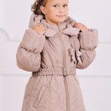 Куртка-Пальто зимняя для девочки 5-7 лет - бежевый