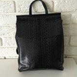Классный кожаный рюкзак с теснением под змеиную кожу Питон Black
