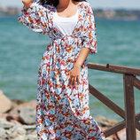 Элегантный летний женский комплект с платьем в больших размерах 1111 Двойка Туника Макси Принт в р