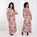 Летнее длинное женское платье в больших размерах 4013 Штапель Крестьянка Акварель .