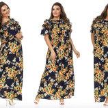 Элегантное летнее длинное платье в больших размерах 176-1 Штапель Волан Подсолнухи в расцветках.