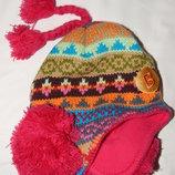 Разноцветная шапка Explosion с помпонами на ушках. One size.